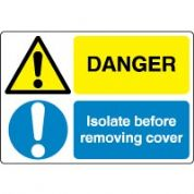 Multiple safety sign - Isolate Before 019